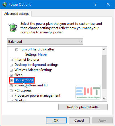 Under Advanced settings, Find USB settings and double click on it