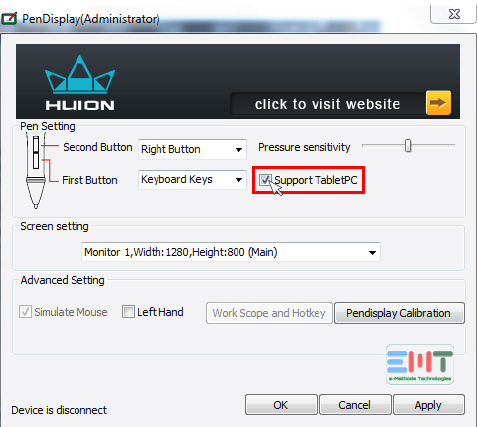 Huion click on support tabletPC