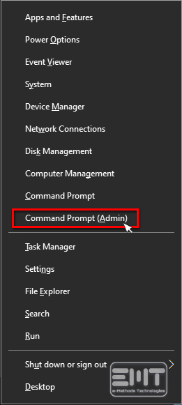 Select command prompt as an admin
