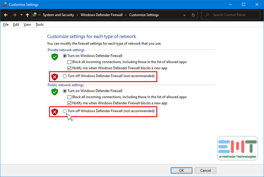Turn off Windows Firewall both Public and Private Networks