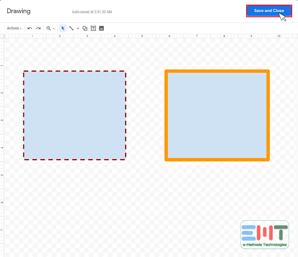 customizing your border style on google doc & Click on Save and Close