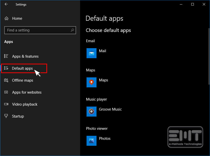 in left pane tap on the option Default apps