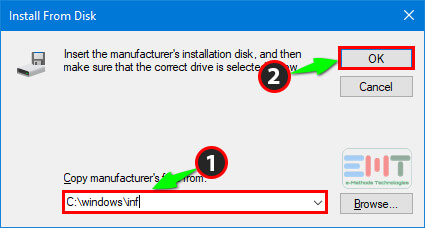 inf under copy Manufacturers files from the box and click on ok