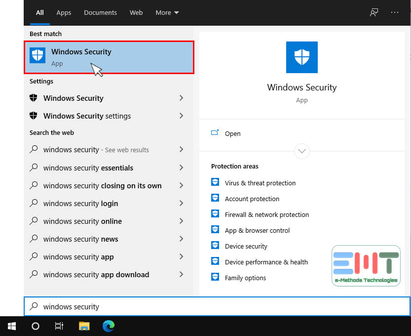 type windows security in the search box on the taskbar