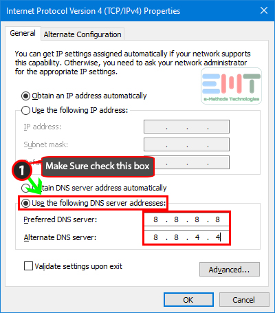 use Preferred DNS server