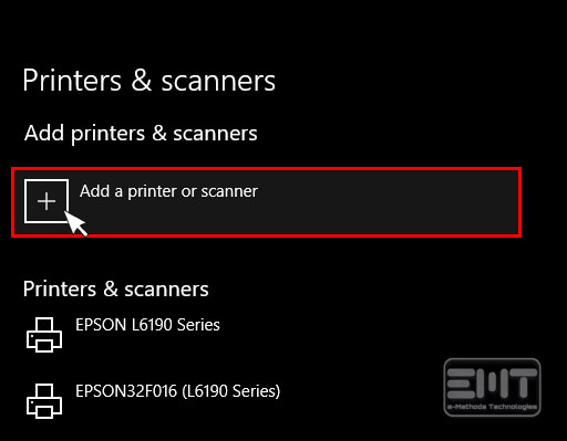 Click on Add a printer or Scanner