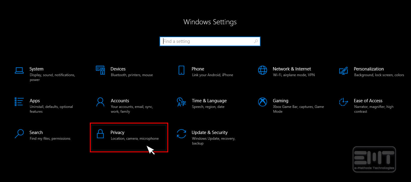 Click to open privacy on windows 10