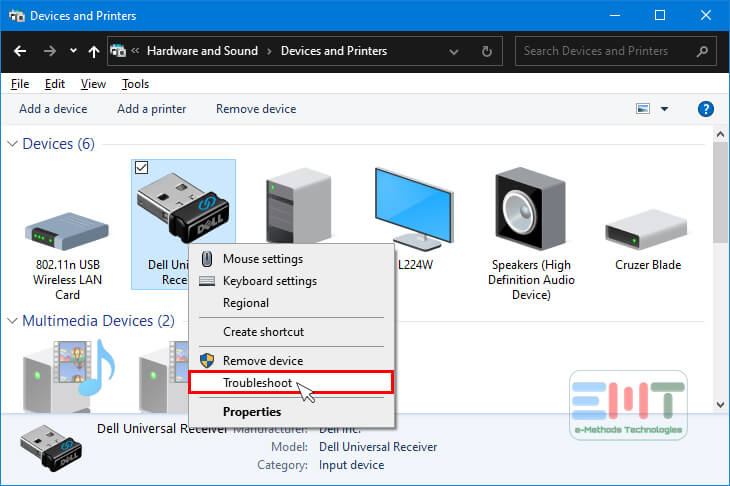 Right click on any usb and select troubleshoot