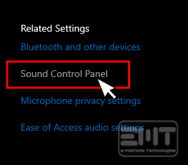 Click on sound ontrol panel