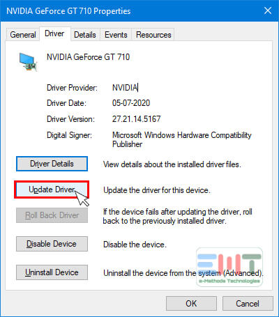 Click on update Driver of nvidia