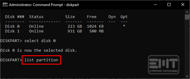 List partition in command line