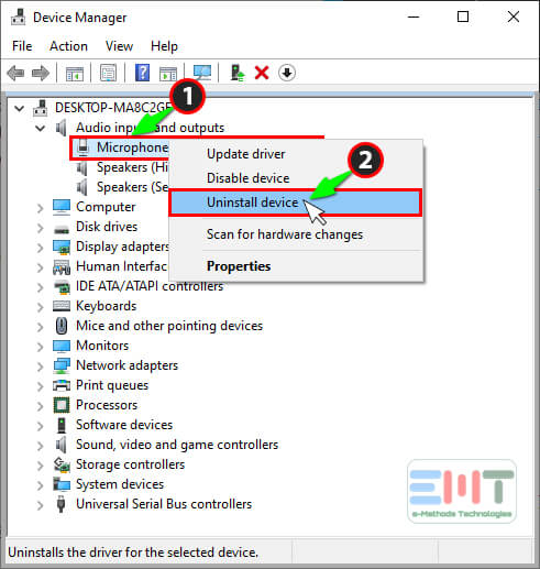 Right click on microphone driver and select uninstall device