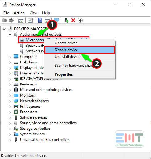 Right click on your microphone driver and select Disable Driver driver