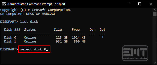 Select disk type in command line