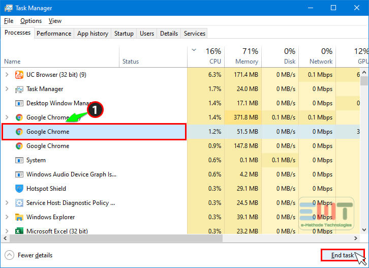 Select the chrome browser from background processes and click on end task