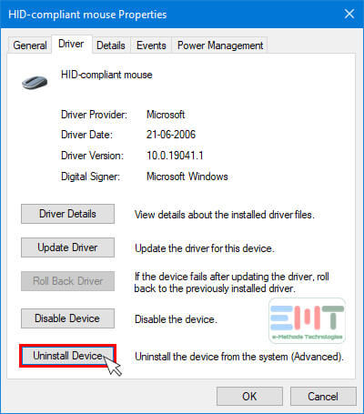 Switch the Driver tab and lick on Uninstall Device button
