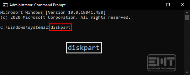 Type diskpart in the command line