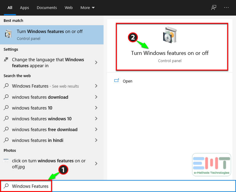 search Eindows Features in search box