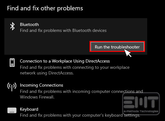 tap on bluetooth and click on run troubleshooter