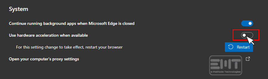turn off Use Hardware Acceleration when available edge browser