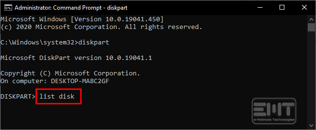 type list disk on the command line