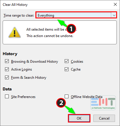Clear all history of mozilla firefox