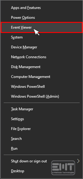 Click on Event viewer
