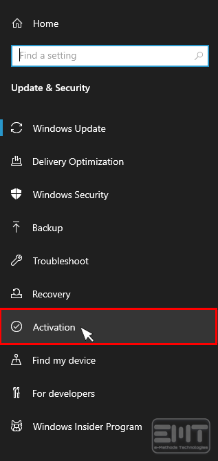 Click on activation from left panel