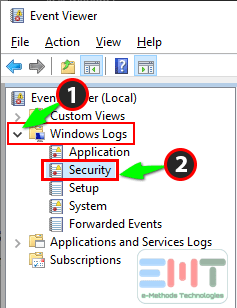 Click on windows logs to expand it and select system