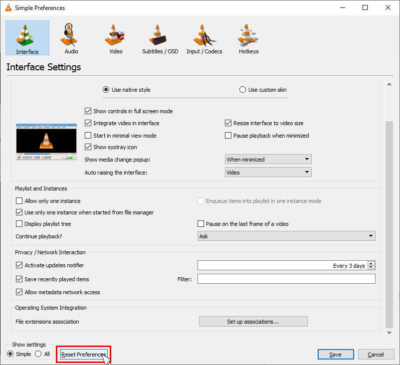 Click on reset preferences