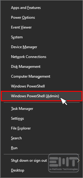 Select Windows powerShall(Admin)