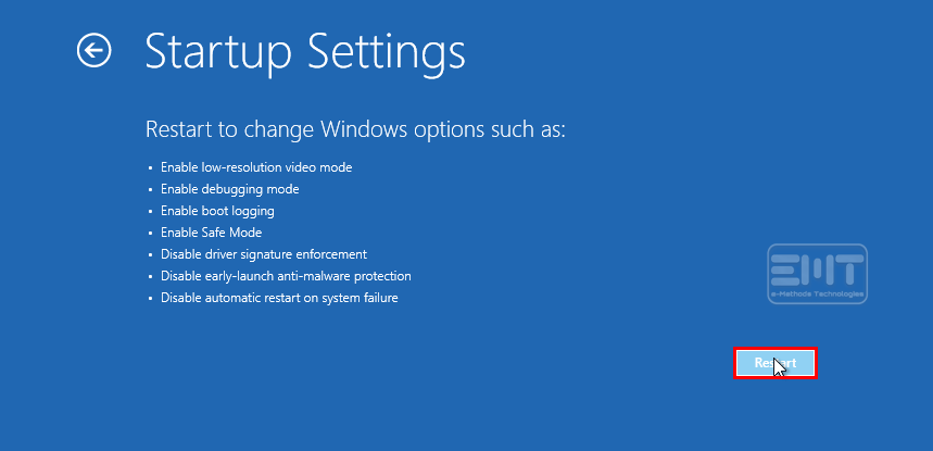 After startup settings click on restart
