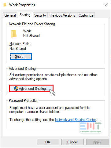 Click on advanced sharing button