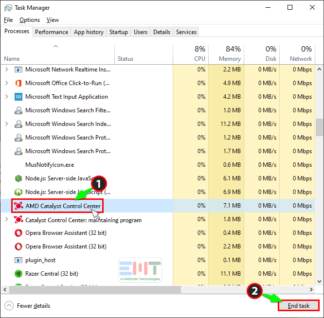 Click on amd Catalyst Control Center and click on end task
