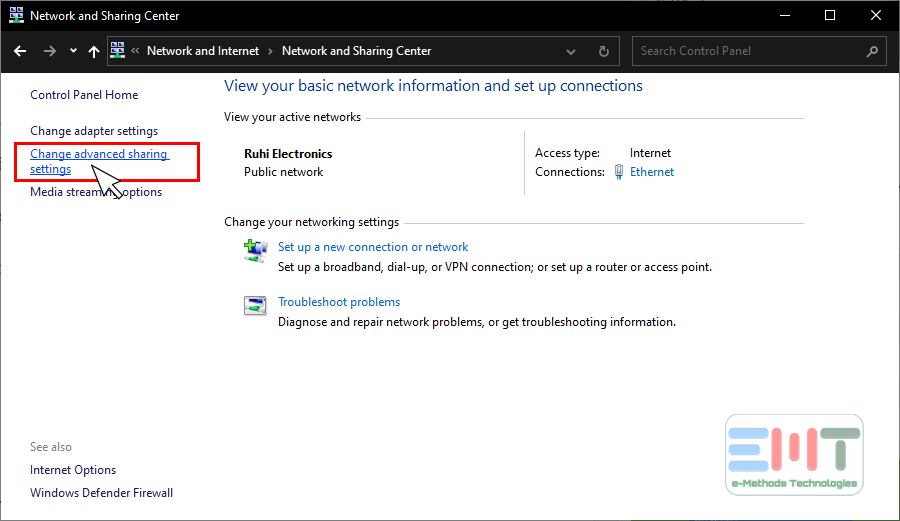 Click on change advanced sharing settings