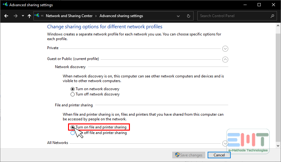 Click on turn on file and printer sharing
