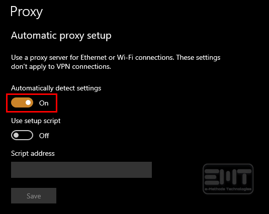 Disable automatically detect settings