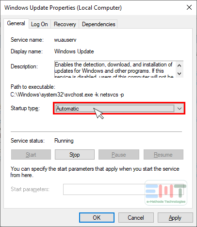 Select the update startup type automatic