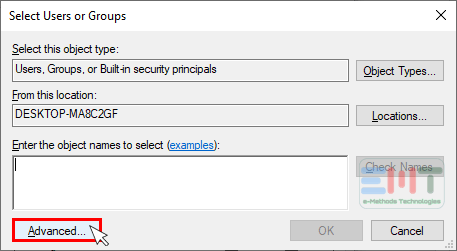 Select the user groups & and click on advanced button