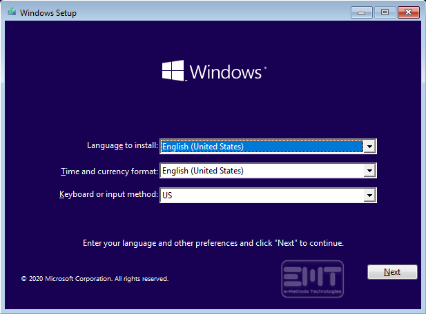 installing windows 10 interface