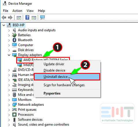 right click on amd graphic driver and click on uninstall device