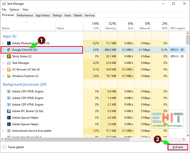 select the google chrome from the list and click on end task