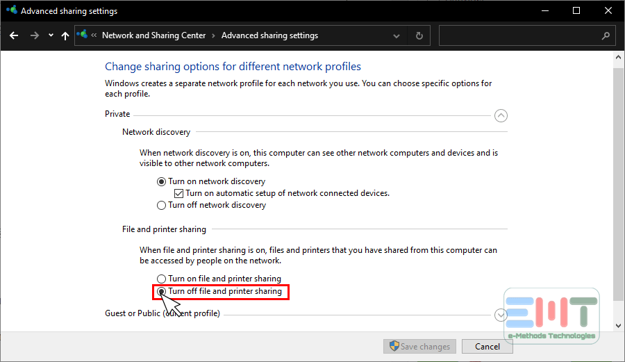 turn off file and printer sharing