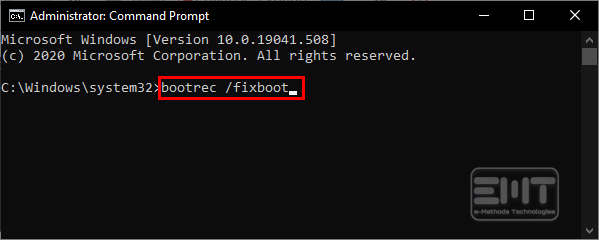 type bootrec fixboot in the command line