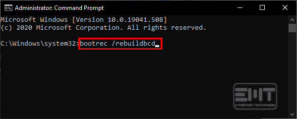 type bootrec rebuildbcd in the command line