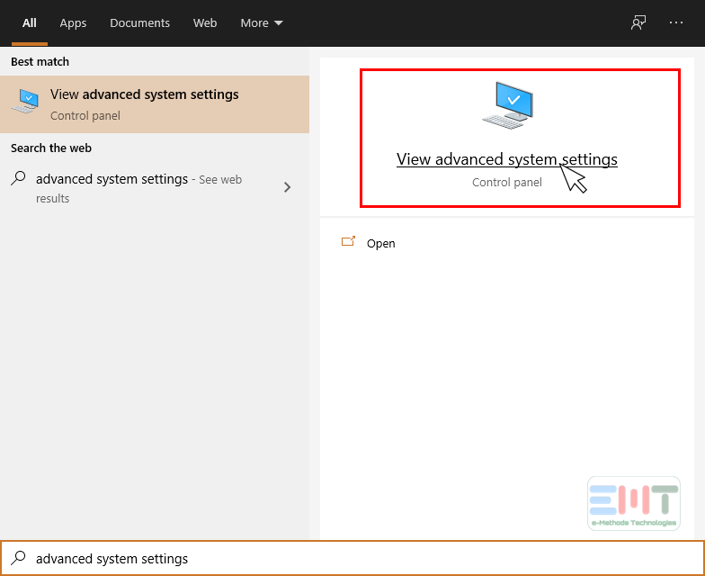 Open advance system settings in windows 10