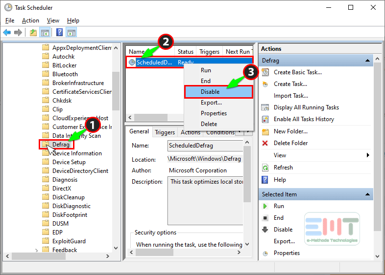 Right-click on scheduled and select disable