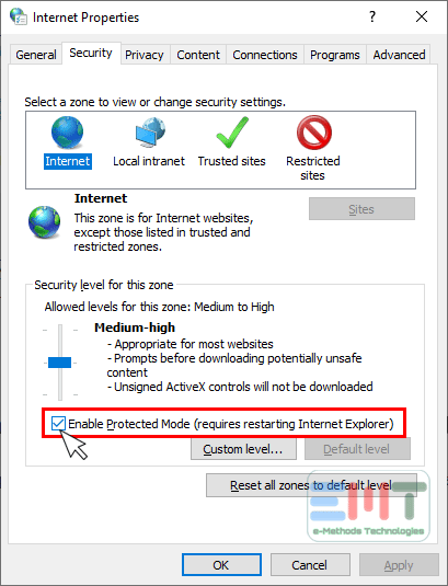 uncheck the enable protected mode